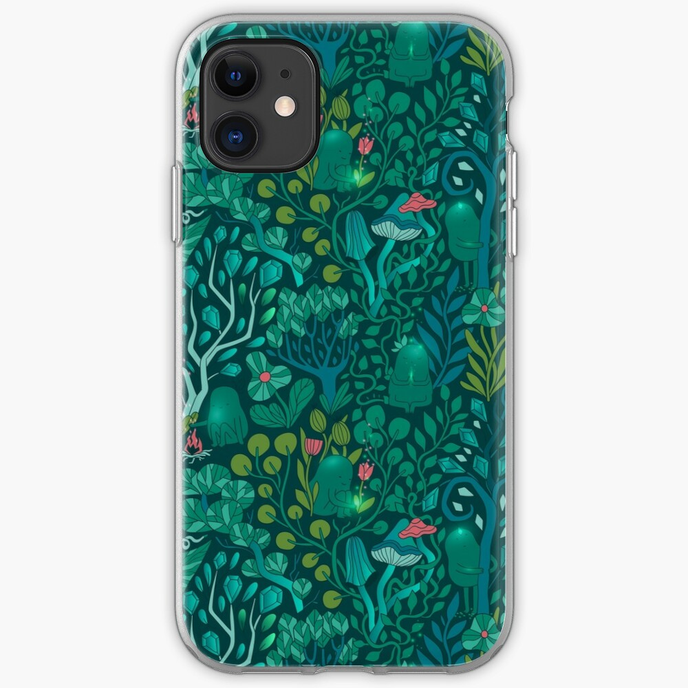 Emerald forest keepers. Fairy woodland creatures. Tree, plants and mushrooms iPhone Case & Cover