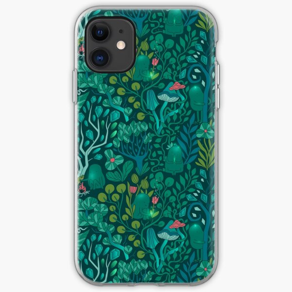 Emerald forest keepers. Fairy woodland creatures. Tree, plants and mushrooms iPhone Soft Case