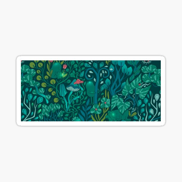 Emerald forest keepers. Fairy woodland creatures. Tree, plants and mushrooms Sticker