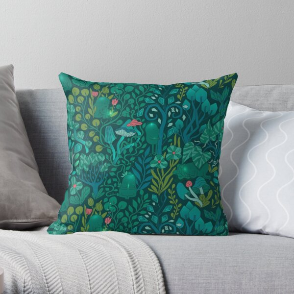 Emerald forest keepers. Fairy woodland creatures. Tree, plants and mushrooms Throw Pillow