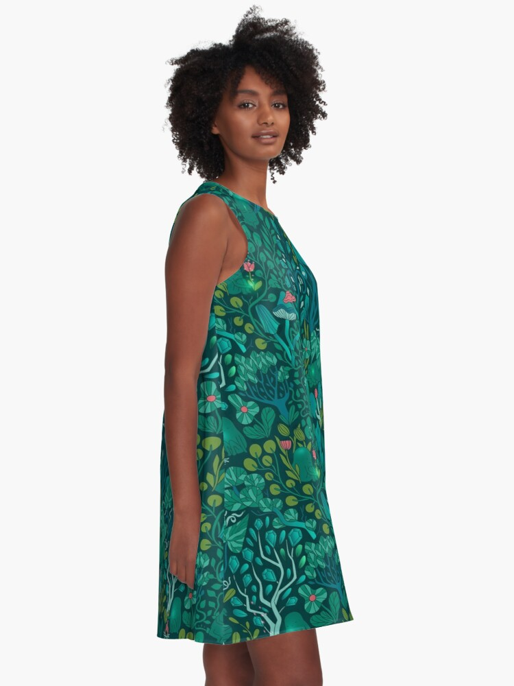 Alternate view of Emerald forest keepers. Fairy woodland creatures. Tree, plants and mushrooms A-Line Dress