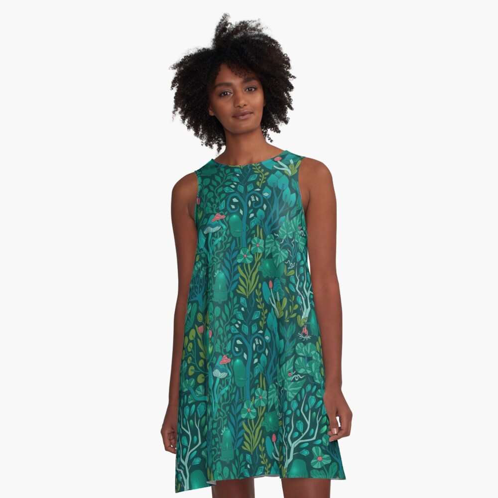 Emerald forest keepers. Fairy woodland creatures. Tree, plants and mushrooms A-Line Dress