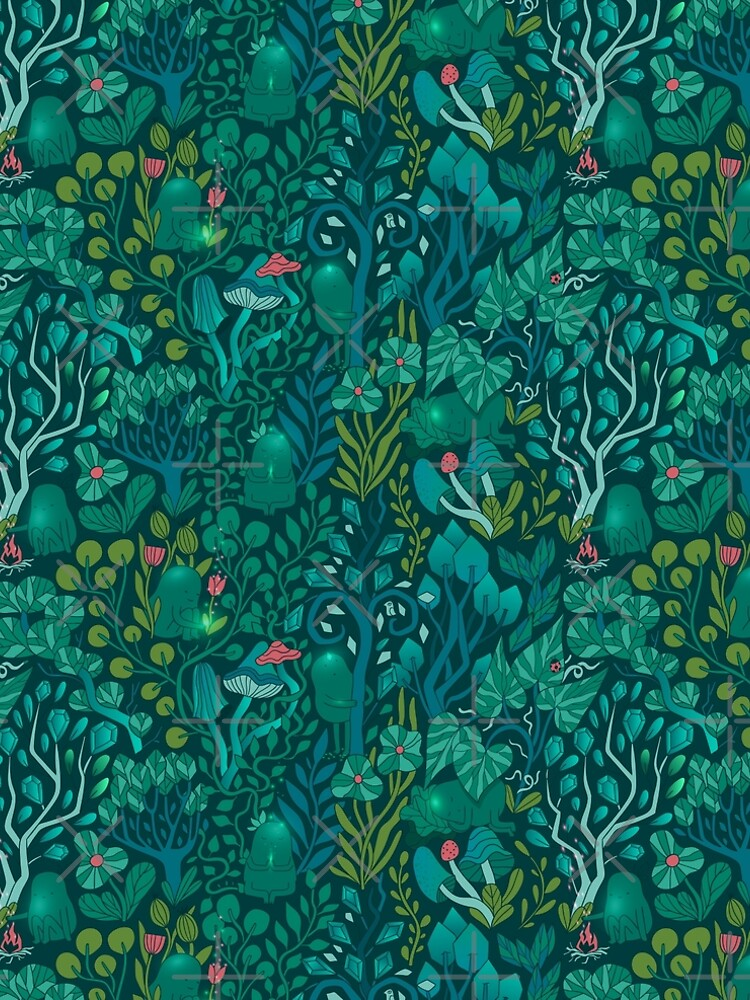 Emerald forest keepers. Fairy woodland creatures. Tree, plants and mushrooms by kostolom3000