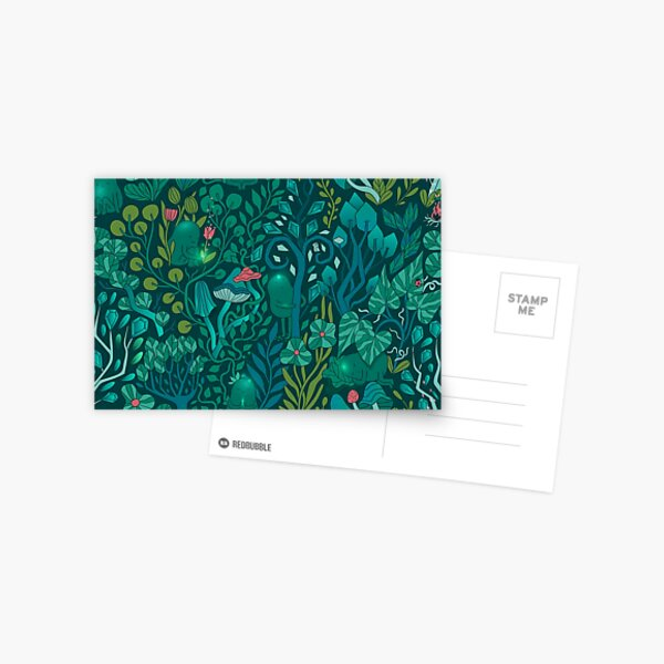 Emerald forest keepers. Fairy woodland creatures. Tree, plants and mushrooms Postcard