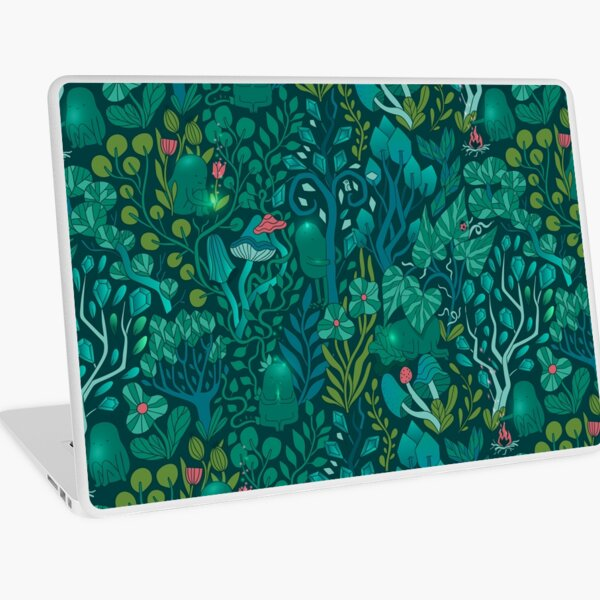 Emerald forest keepers. Fairy woodland creatures. Tree, plants and mushrooms Laptop Skin