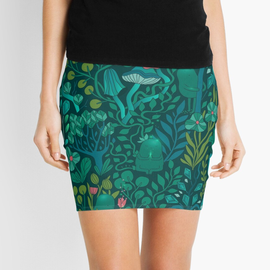 Emerald forest keepers. Fairy woodland creatures. Tree, plants and mushrooms Mini Skirt