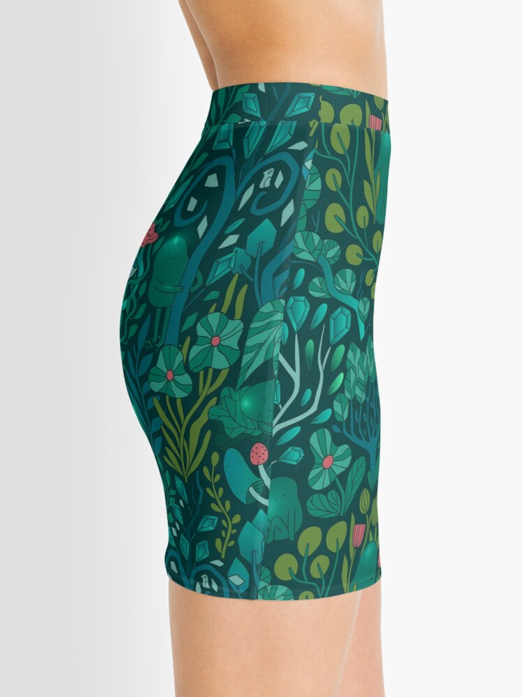Alternate view of Emerald forest keepers. Fairy woodland creatures. Tree, plants and mushrooms Mini Skirt