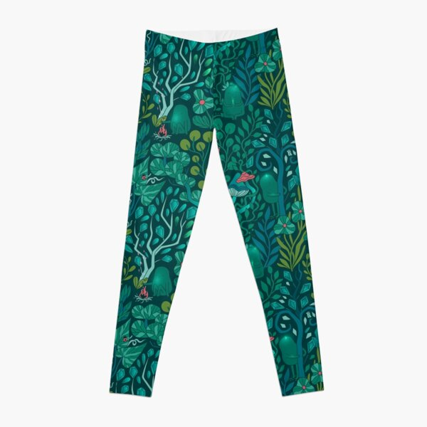 Emerald forest keepers. Fairy woodland creatures. Tree, plants and mushrooms Leggings