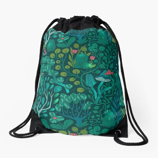 Emerald forest keepers. Fairy woodland creatures. Tree, plants and mushrooms Drawstring Bag