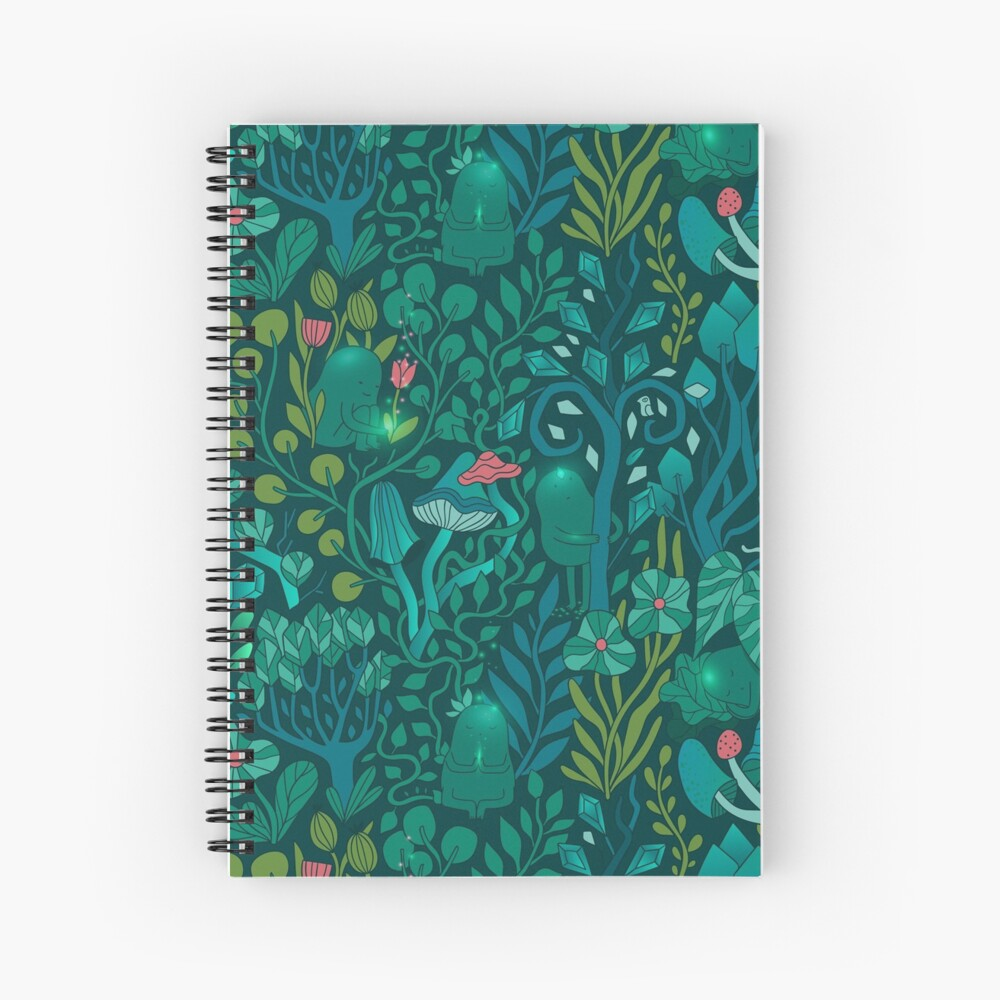 Emerald forest keepers. Fairy woodland creatures. Tree, plants and mushrooms Spiral Notebook