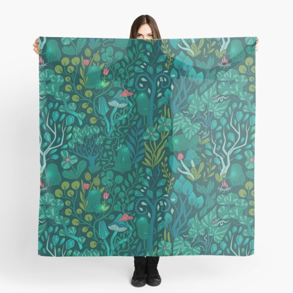 Emerald forest keepers. Fairy woodland creatures. Tree, plants and mushrooms Scarf