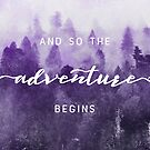 And So The Adventure Begins - Ultraviolet Forest - Foggy Trees Woods Adventure Wanderlust Wall Decor by artcascadia