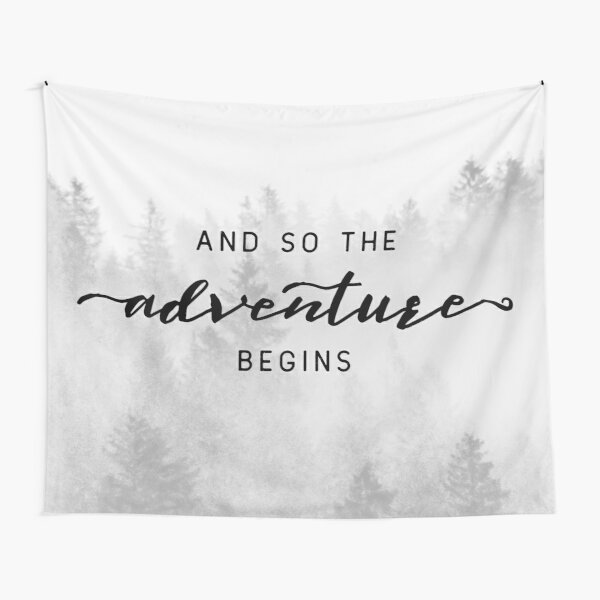 And So The Adventure Begins - Foggy Trees Forest Wall Decor Tapestry