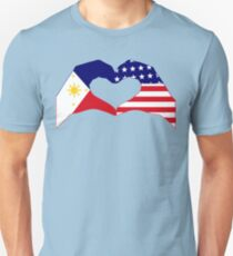 We Heart Philippines & U.S.A. Patriot Flag Series Unisex T-Shirt