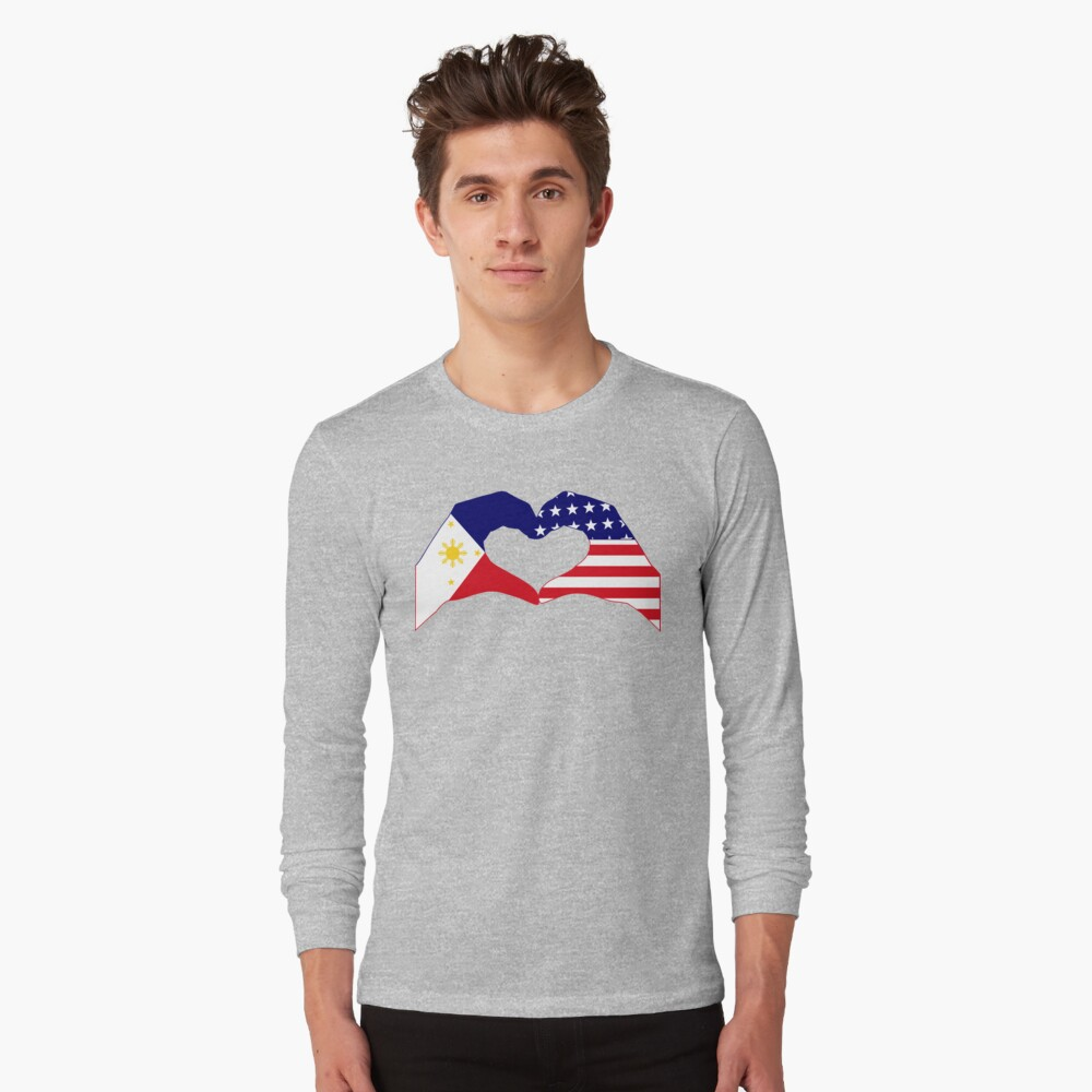 We Heart Philippines & U.S.A. Patriot Flag Series Long Sleeve T-Shirt