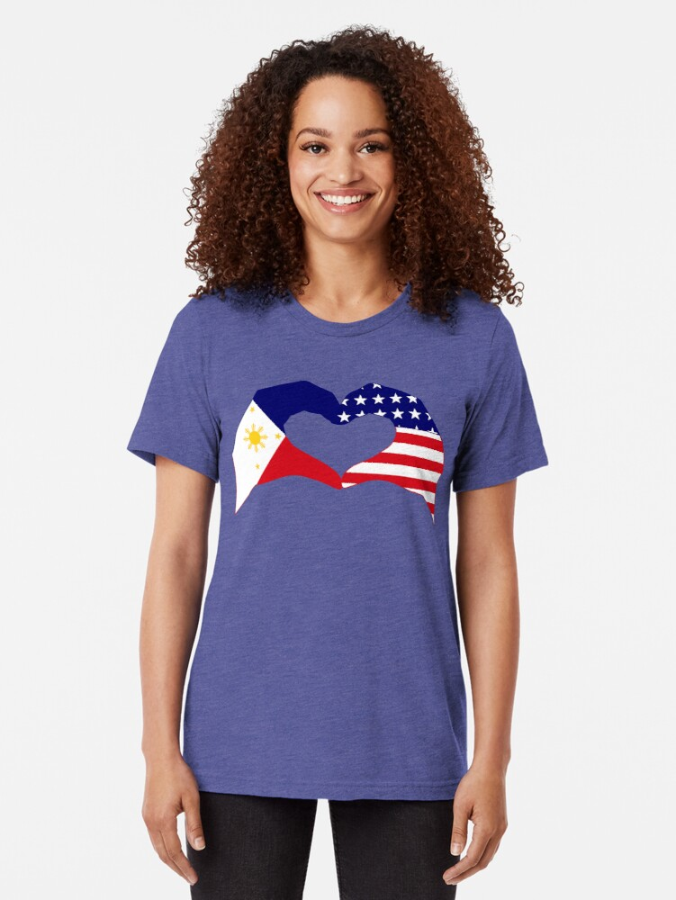 Alternate view of We Heart Philippines & U.S.A. Patriot Flag Series Tri-blend T-Shirt