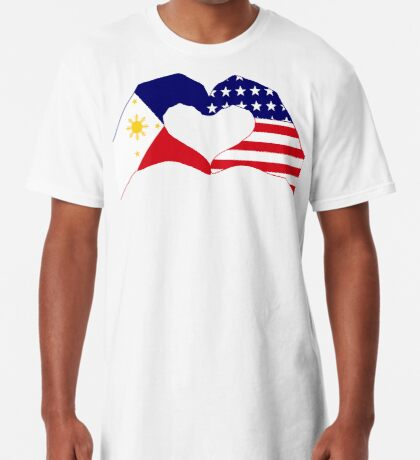 We Heart Philippines & U.S.A. Patriot Flag Series Long T-Shirt