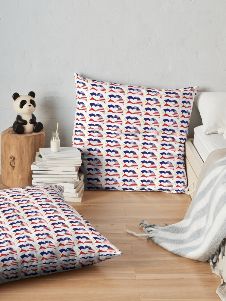 Alternate view of We Heart Philippines & U.S.A. Patriot Flag Series Floor Pillow