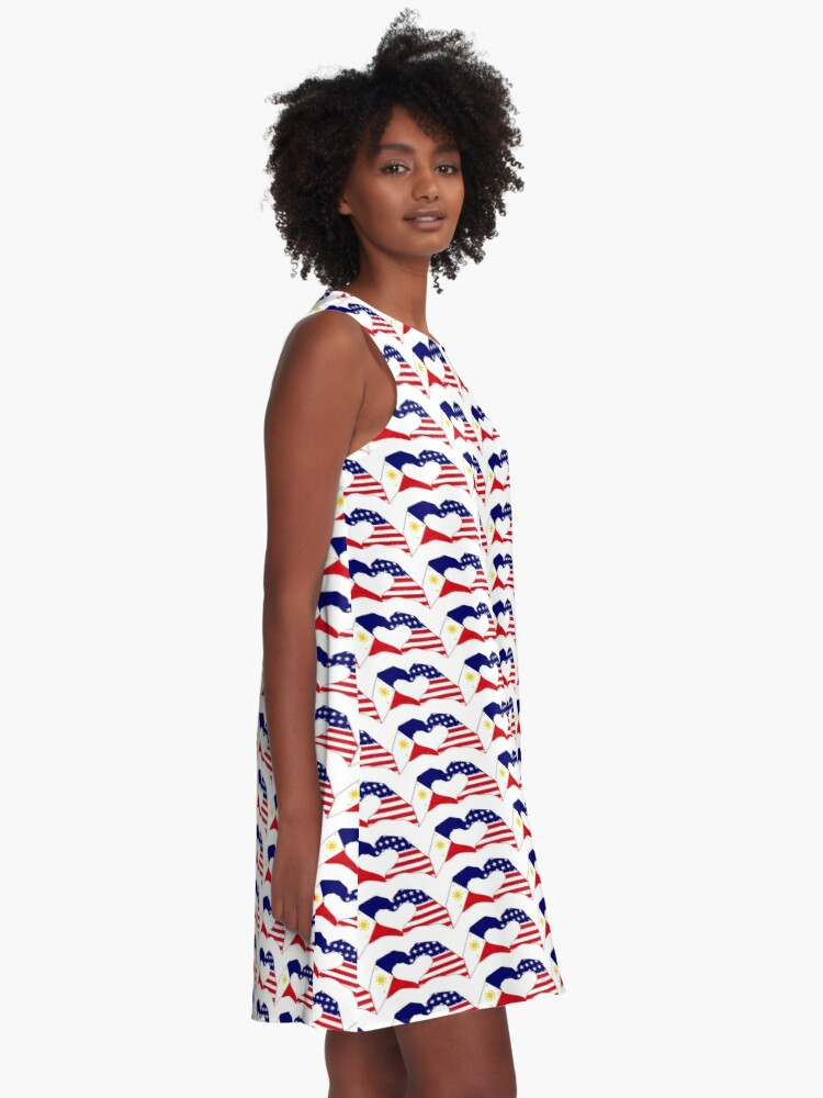 Alternate view of We Heart Philippines & U.S.A. Patriot Flag Series A-Line Dress