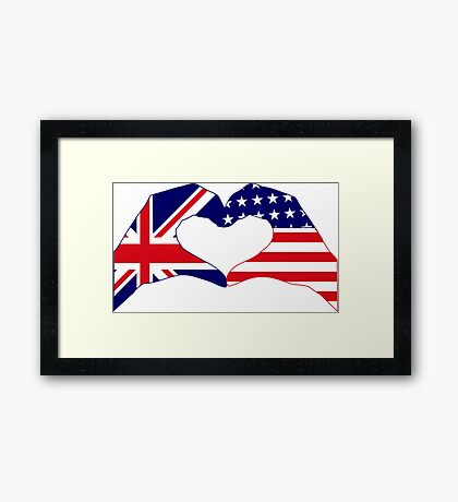We Heart UK & USA Patriot Flag Series Framed Print