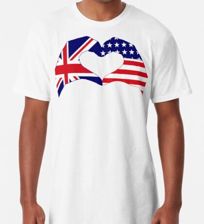 We Heart UK & USA Patriot Flag Series Long T-Shirt