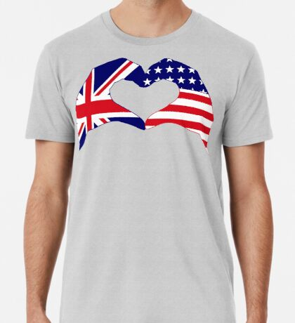 We Heart UK & USA Patriot Flag Series Premium T-Shirt