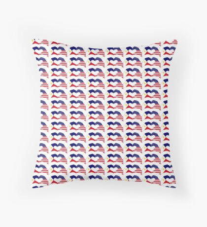 We Heart Philippines & U.S.A. Patriot Flag Series Throw Pillow