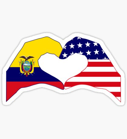 We Heart Ecuador & USA Patriot Flag Series Sticker