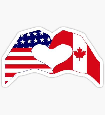 We Heart USA & Canada Patriot Flag Series Glossy Sticker