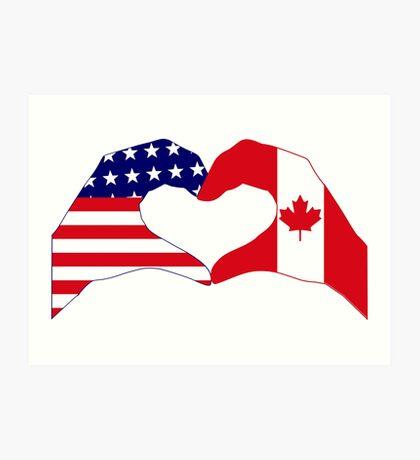 We Heart USA & Canada Patriot Flag Series Art Print