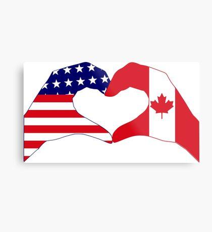 We Heart USA & Canada Patriot Flag Series Metal Print