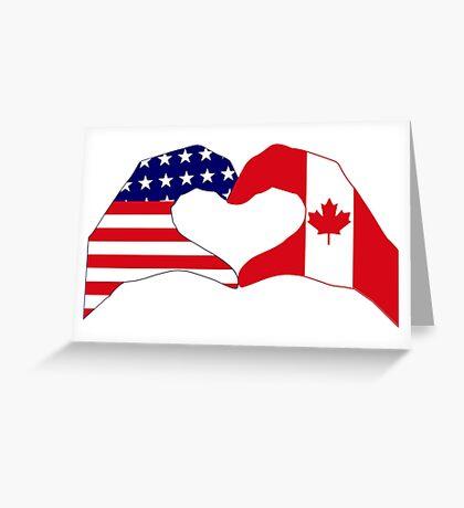 We Heart USA & Canada Patriot Flag Series Greeting Card