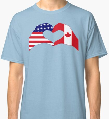 We Heart USA & Canada Patriot Flag Series Classic T-Shirt