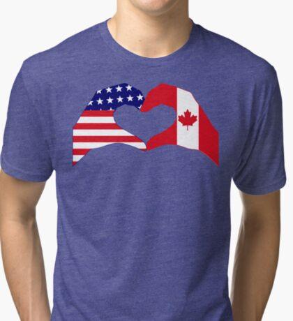 We Heart USA & Canada Patriot Flag Series Tri-blend T-Shirt