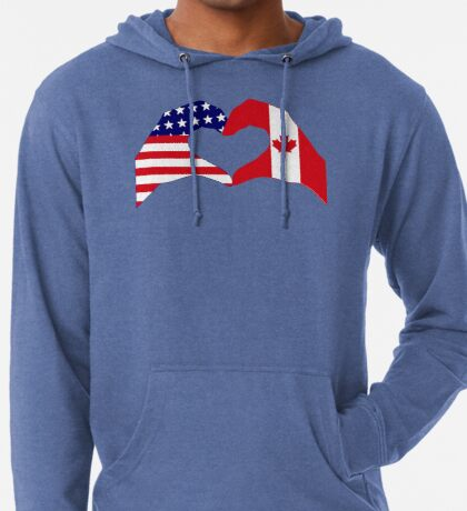 We Heart USA & Canada Patriot Flag Series Lightweight Hoodie
