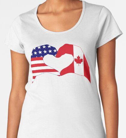 We Heart USA & Canada Patriot Flag Series Premium Scoop T-Shirt