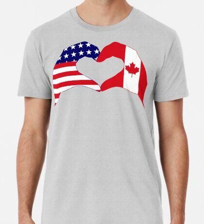 We Heart USA & Canada Patriot Flag Series Premium T-Shirt