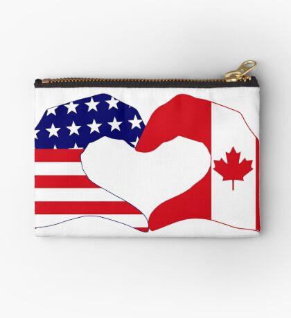 We Heart USA & Canada Patriot Flag Series Zipper Pouch