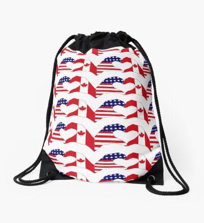 We Heart USA & Canada Patriot Flag Series Drawstring Bag