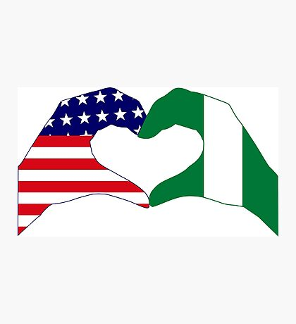 We Heart USA & Nigeria Patriot Flag Series Photographic Print