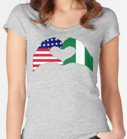 We Heart USA & Nigeria Patriot Flag Series Fitted Scoop T-Shirt