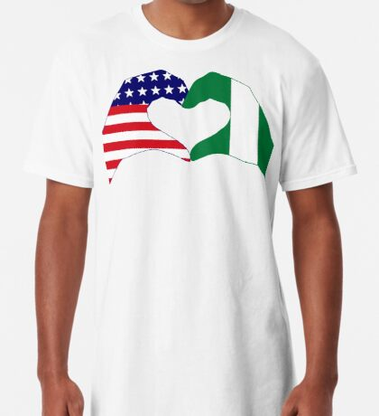 We Heart USA & Nigeria Patriot Flag Series Long T-Shirt