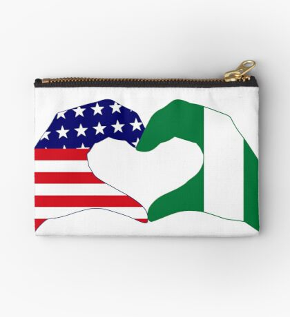 We Heart USA & Nigeria Patriot Flag Series Zipper Pouch