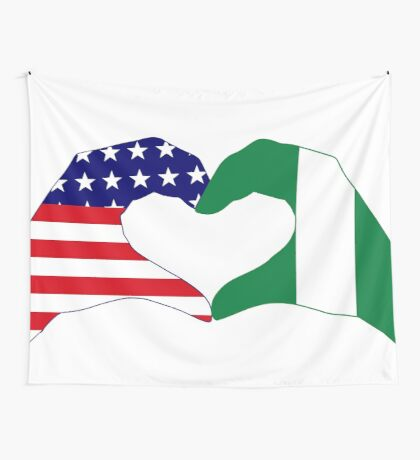 We Heart USA & Nigeria Patriot Flag Series Wall Tapestry