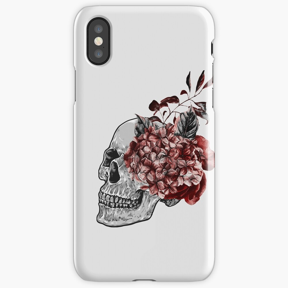 Floral Skull - Anatomical Summer Flowers iPhone Case & Cover