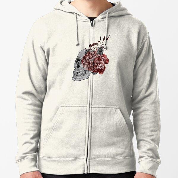 Floral Skull - Anatomical Summer Flowers Zipped Hoodie
