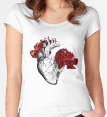 Anatomical Heart With Red Flowers Women's Fitted Scoop T-Shirt