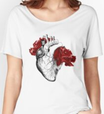 Anatomical Heart With Red Flowers Women's Relaxed Fit T-Shirt