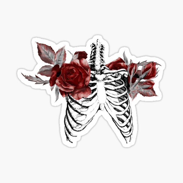 Skeleton Ribcage with Red Floral Blooms Sticker