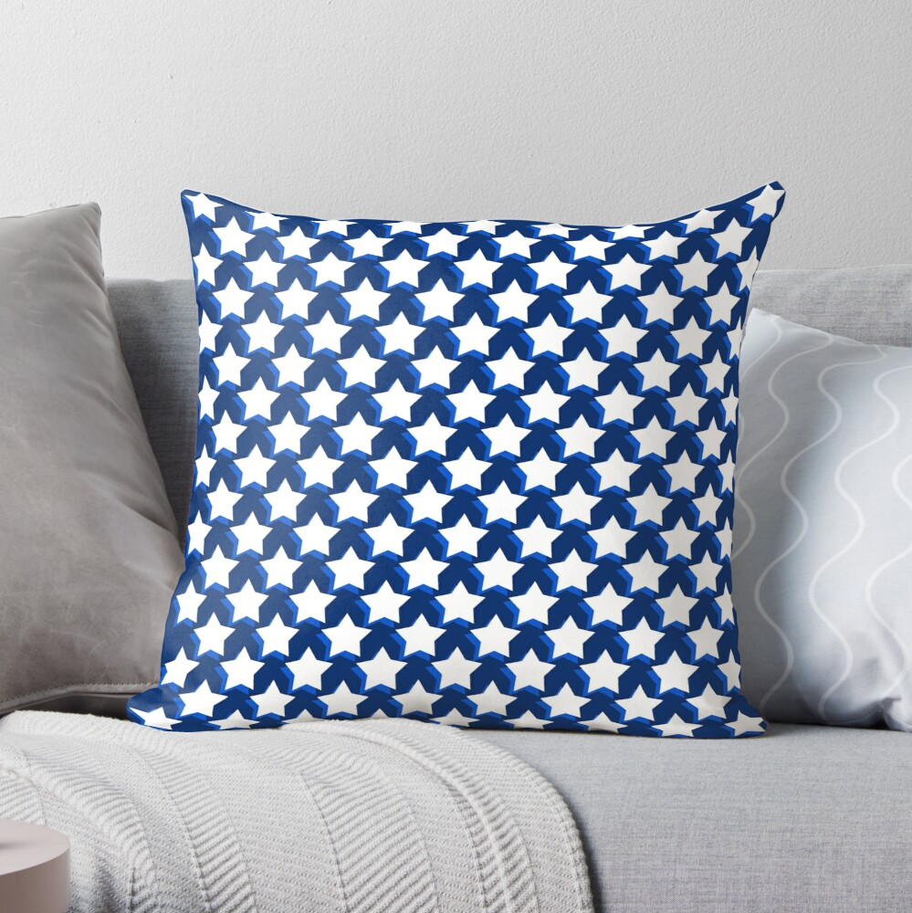 Stars On Blue Throw Pillow